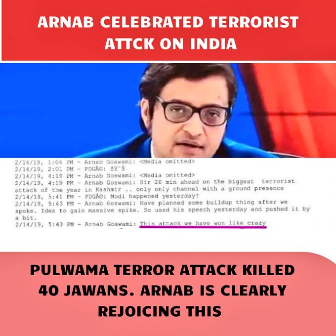 """Feb14th at 3.15PM, a terrorist kills 40 of our Jawans in #PulwamaAttack  Feb14th at 5.42 PM #Arnab says """"This attack we have won like crazy"""" This man who is celebrating our jawans deaths is a Nationalist Icon for Bhakts? #India #NationWantsToKnow #IndianArmy #farmersrprotest"""