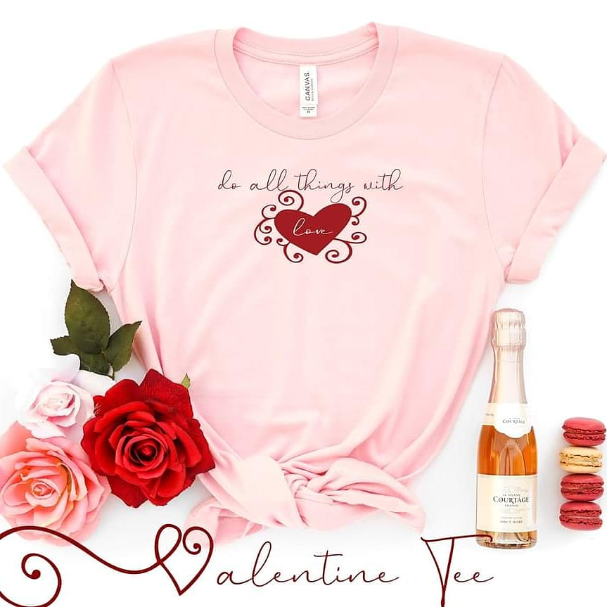 Valentine's Day Tee. Wrap yourself in LOVE 🥰😍 In pretty soft pink or white. 🌷 20% off until January 17th 🔥🏃    #tshirt #love #thursdaymorning #ValentinesDay #Valentine #fashion #thursdayvibes #tshirtdesign #womensfashion #sale