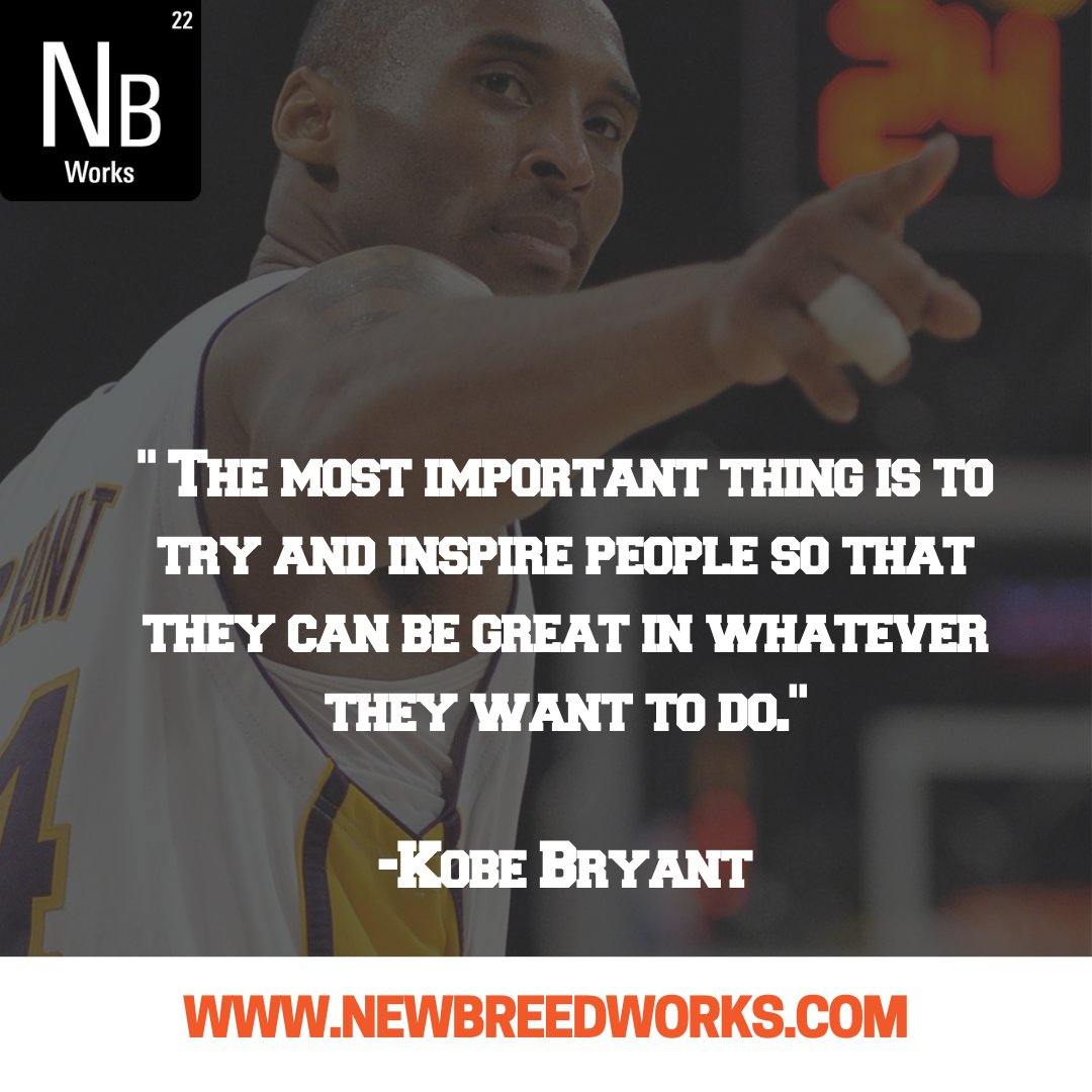 """""""The most important thing is to try and inspire people...-Kobe Bryant Who inspires you? #inspiration #quotes #sports #kobe #kobebryant #inspirationalquotes #quotestoliveby #motivationalquotes #inspirational #quotestagram #lifequotes #quotesoftheday #quotesdaily https://t.co/PGnOKa6oFX"""
