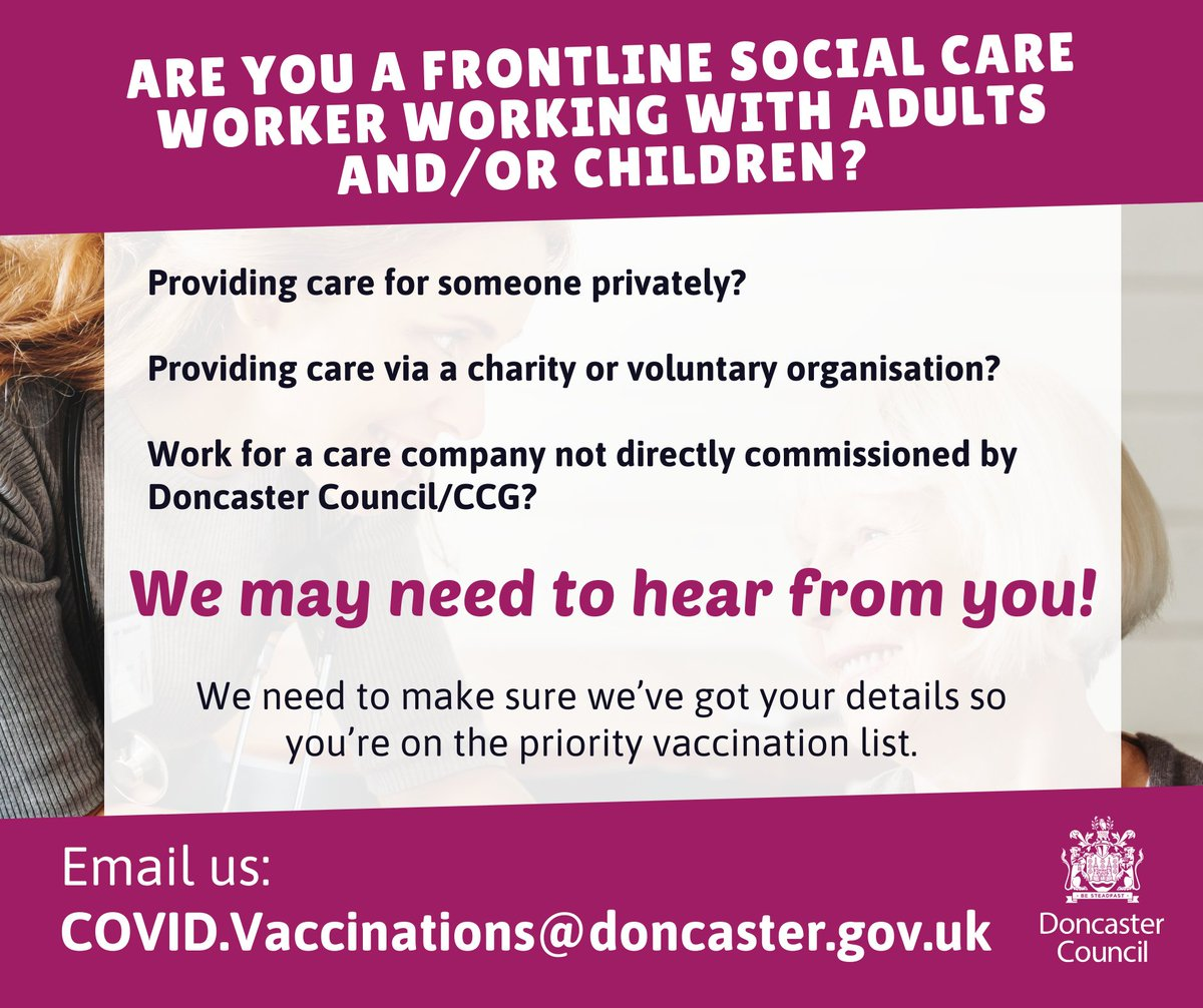 Are you a frontline social care worker working with adults and/or children?  If you're…  👉providing care for someone privately  👉providing care via a charity or voluntary organisation  👉working for a care company not directly commissioned by Doncaster Council/CCG   [THREAD]