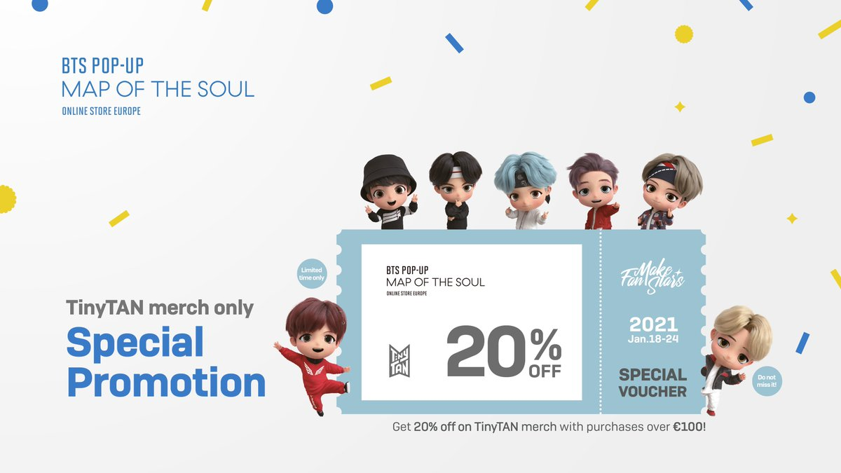 Special offer for Fanmakestars, starting on Jan.18!  Get additional 20% off on TinyTAN merch with purchases over €100!  Check out on Fanmakestars website!   TinyTAN special voucher🗓1/18-1/24 Photo postcard event 🗓1/14-1/31  📌