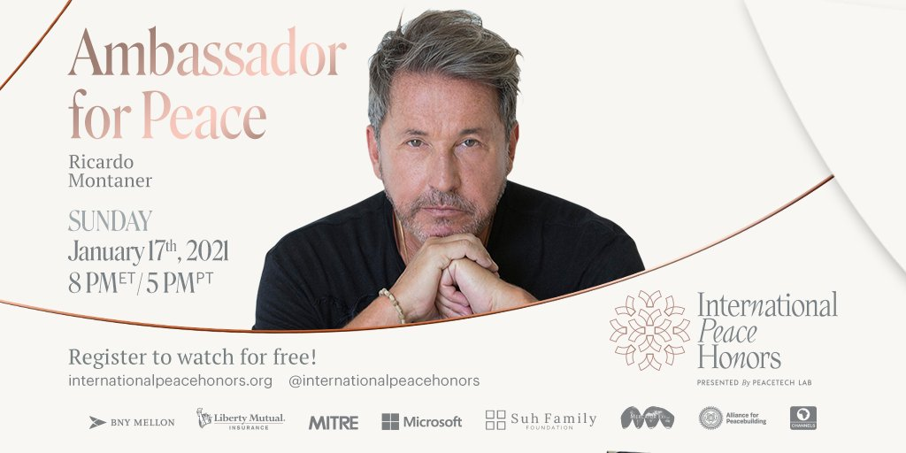 In just TWO DAYS tune in to the @IntlPeaceHonors and join us to celebrate our amazing Ambassador for Peace @montanertwiter.✨ Jan 17 will be an unforgettable night, filled with performances and special appearances. Register now: