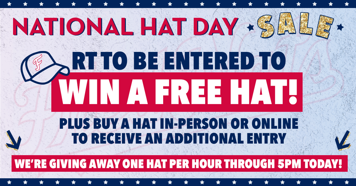 #NationalHatDay just got a little sweeter!  We will be giving away one FredNats hat for FREE every hour until 5 pm! All you have to do is like, RT and reply with a  🧢 to win!  Receive an additional entry with the purchase of a FredNats hat!  🤩