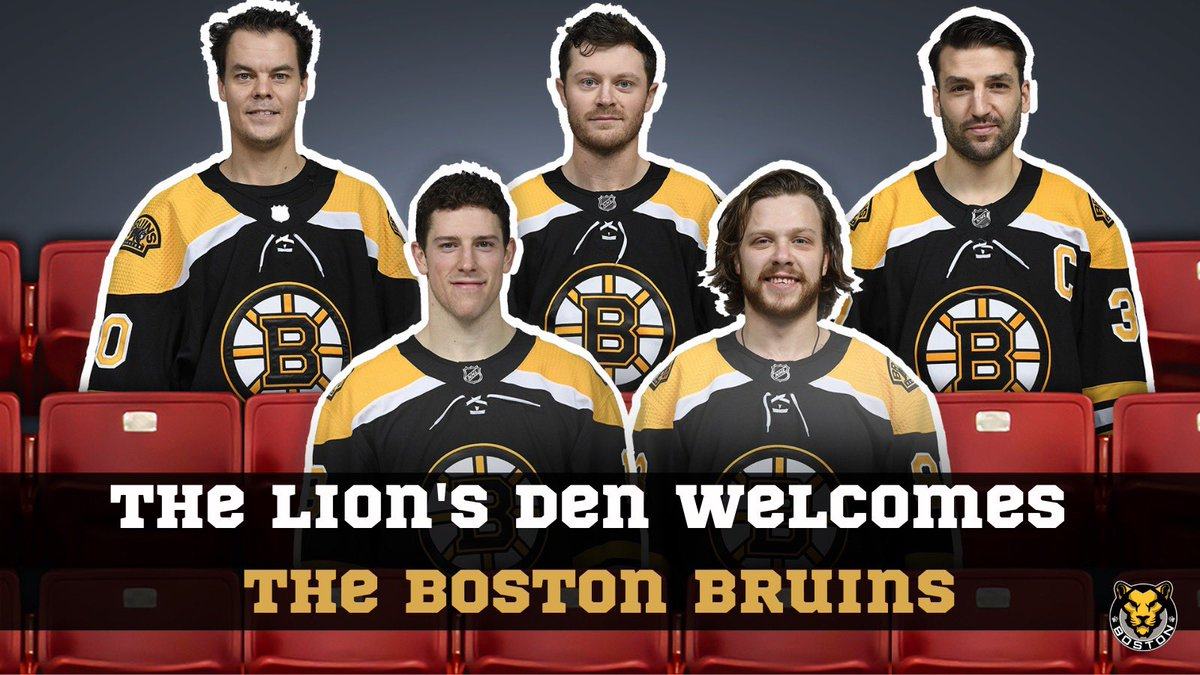 Hey @NHLBruins, congratulations on your first win! We can't wait to have you in the stands to witness ours! 😉  The Boston Bruins will be joining the Lion's Den with 20 Fan Face cutouts.   **TODAY is the last day to purchase your Fan Face cutout.**  🗞: https://t.co/0Lt9PP5mCL https://t.co/qSB3AdmY5J