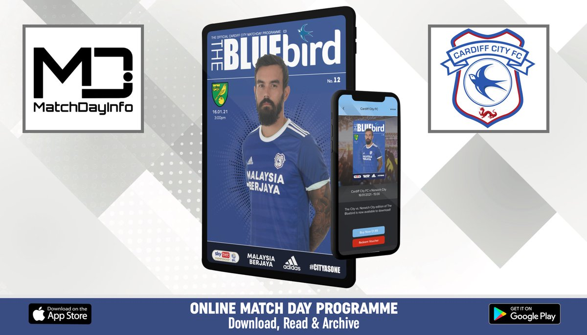 OUT NOW! @CardiffCityFC v @NorwichCityFC match day programme available to download and read now ⚽️📲  Available worldwide on both iOS and Android, get the match day experience delivered to you! 📖  iOS:  Android: