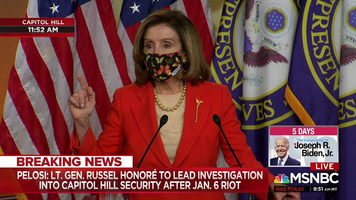 """Speaker Pelosi: """"One week ago, on Jan. 6, there was an act of insurrection perpetrated on the Capitol of the U.S. incentivized by the president of the U.S. One week later, Wednesday to Wednesday, that president was impeached in a bipartisan way by the House of Representatives."""""""