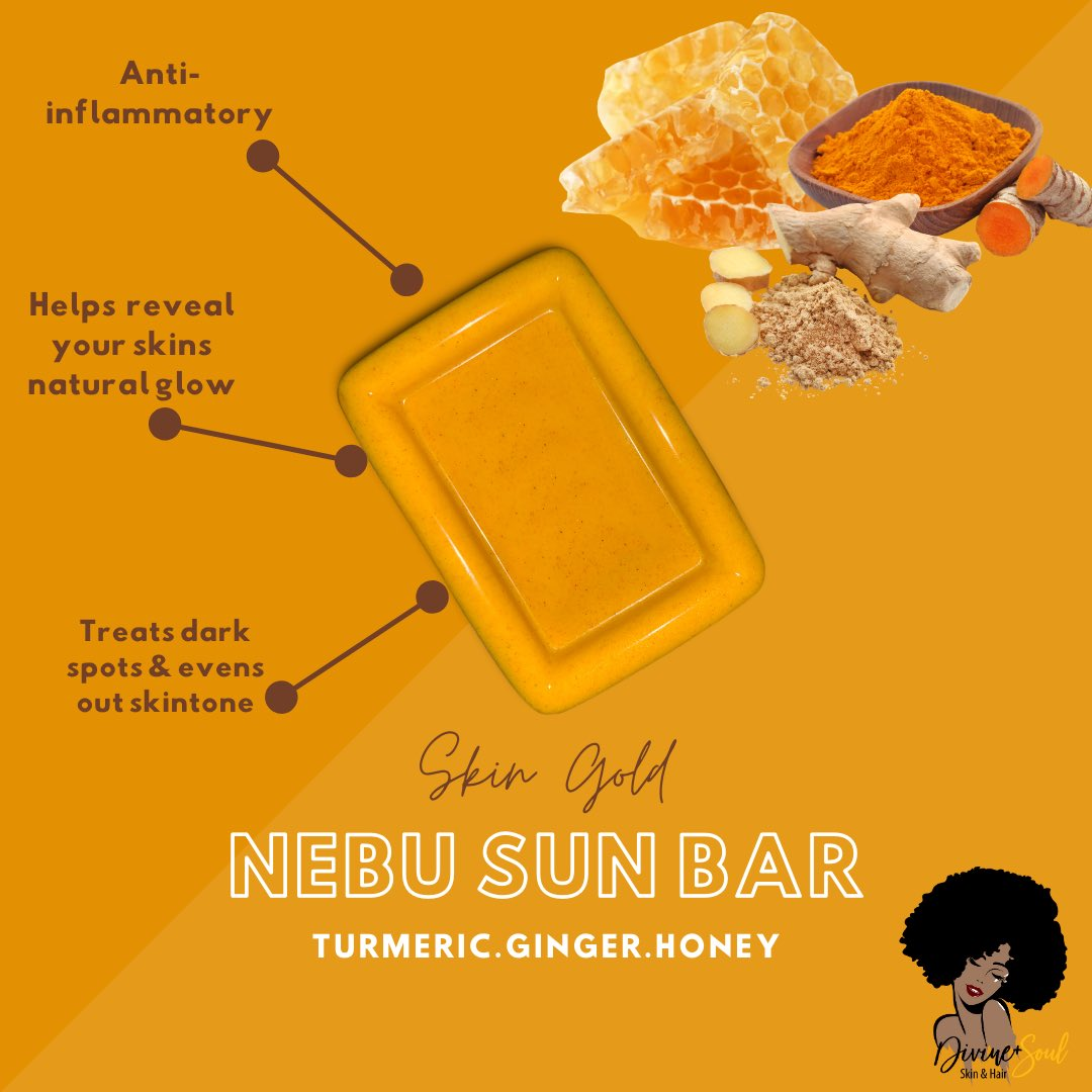 Our Top best seller 🤩✨. Nebu aka know as the Egyptian symbol for gold ✨. Here are a list of just a few of the many benefits of using our Turmeric , ginger & honey soap bar !  🌻 🌻 IF YOUVE PURCHASED A NEBU BAR FROM US LEAVE A REVIEW IN THE COMMENTS BELOW !💛 . #turmericsoap