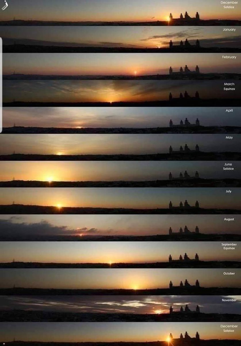 A photographer took these pictures of sunrise from the same place, same time, once each month. See how beautifully he has captured the position of the Sun changing !