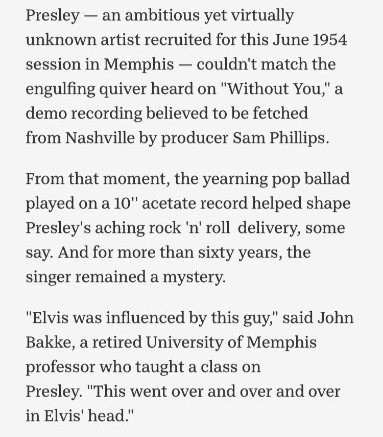 More on the impact of Jimmy Sweeney on Elvis. Learned something today
