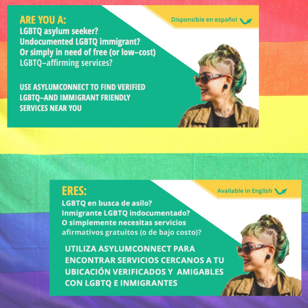 Share our bilingual (English/Spanish) flyer with LGBTQ+ asylum seekers/refugees in need and the lawyers and other direct service providers who support them:   #lgbtq #lgbtqimmigrants #refugeeswelcome #saveasylum #techforgood #probonoresources #immigration
