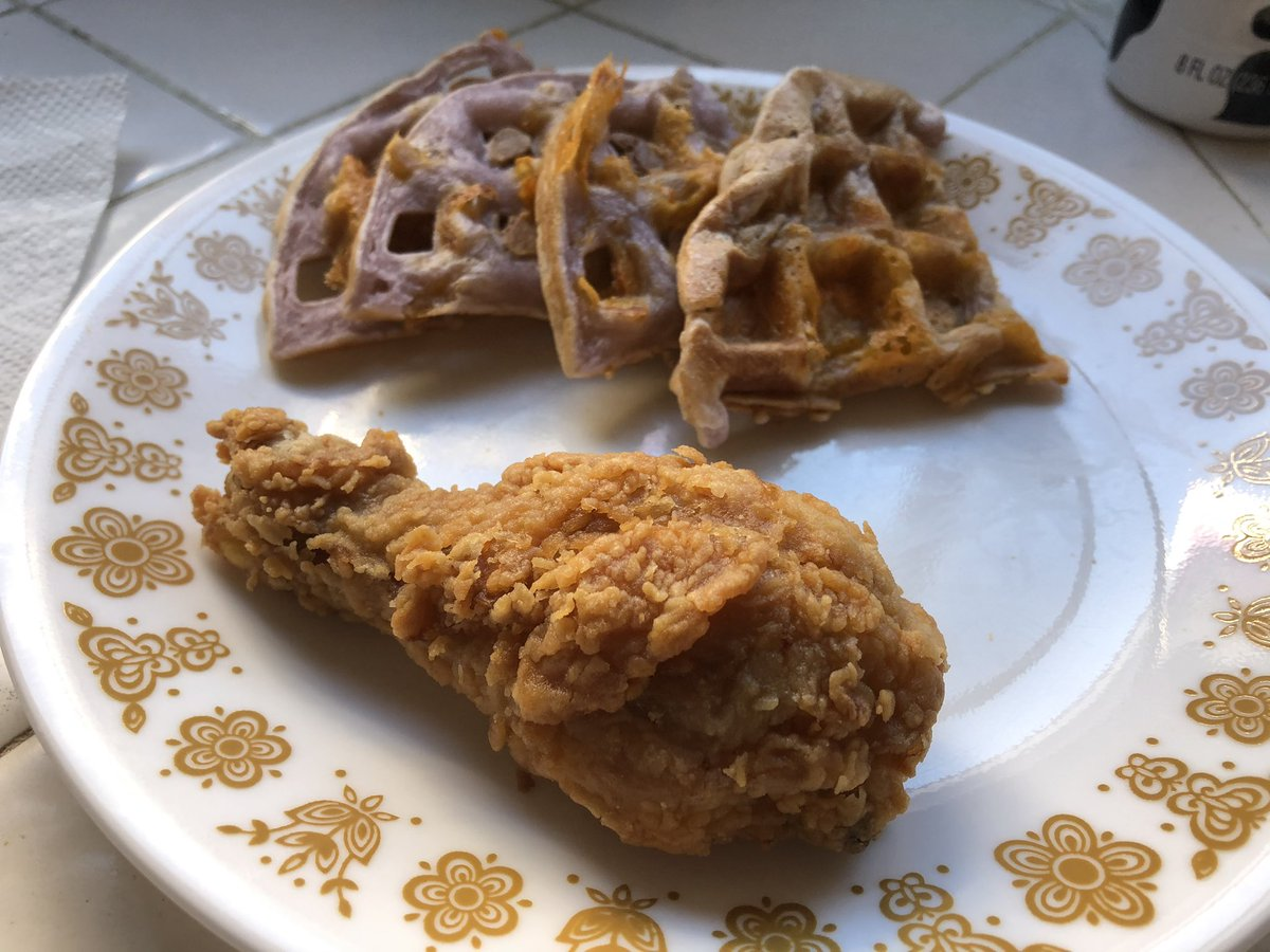 ube cheddar mochi waffles with leftover popeyes fried chicken