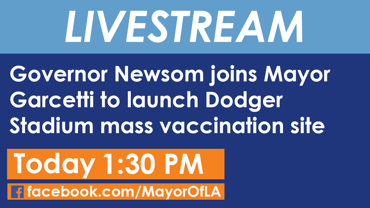 TODAY: Governor @GavinNewsom and local leaders will launch the vaccination site at @Dodgers Stadium, one of the many locations across the state ramping up to accelerate #COVID19 vaccine administration.  🎥 Watch live at approx. 1:30pm: