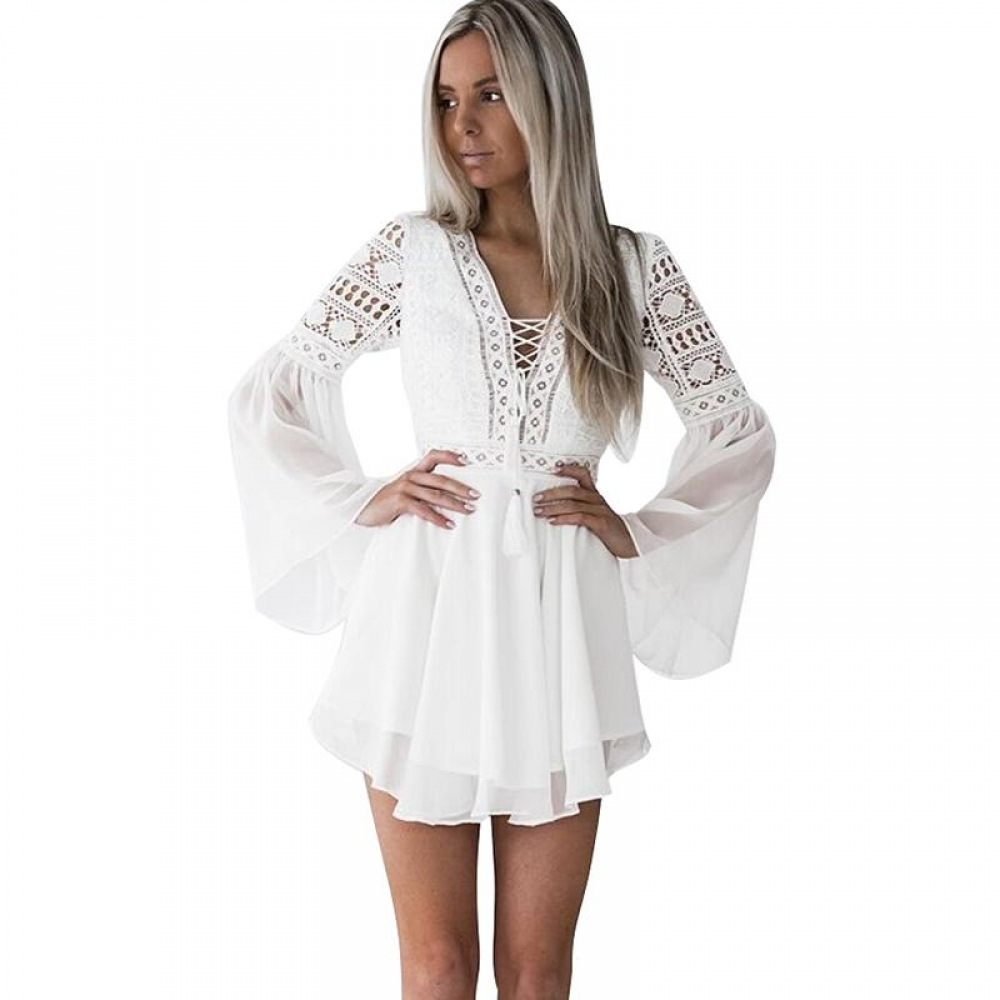 Women's Lace Embroidery Flare Sleeve Mini Dress #makeup #bestoftheday