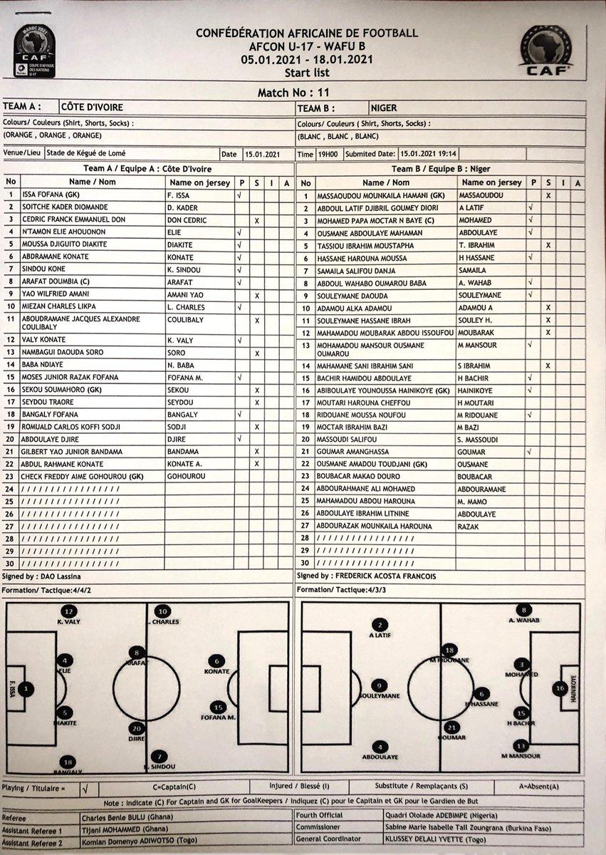 #Elim #Can U17 2021 - tournoi ufoa-B Togo 2020 - Demi Finale   #Civ - #Niger  Coup d'envoi à 19h00 gmt au stade de Kegué de Lomé  🇨🇮 🇨🇮 🇨🇮 🇨🇮 🇨🇮 🇨🇮