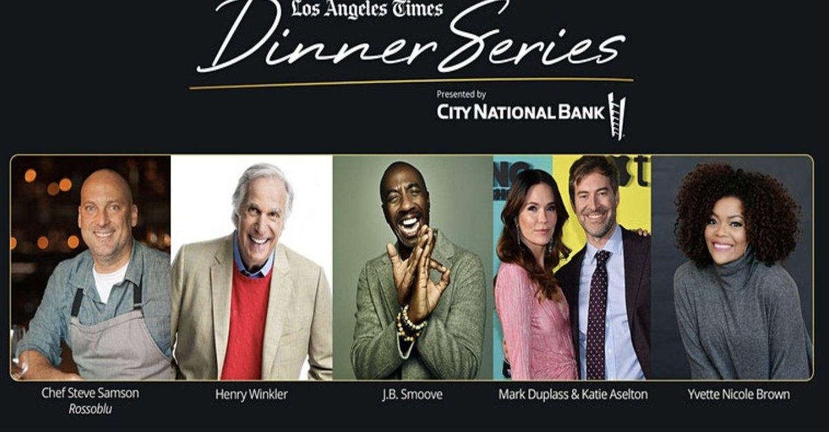 Jan. 16 @latimes #dinnerseries is hosting their first virtual dinner party of 2021. Chef Steve Samson prepares a 3-course @rossobluLA dinner & conversations w/ actors @hwinkler4real @ohsnapjbsmoove @YNB @MarkDuplass @duplaselton. Proceeds go to @ProjAngelFood. Tickets @eventbrite