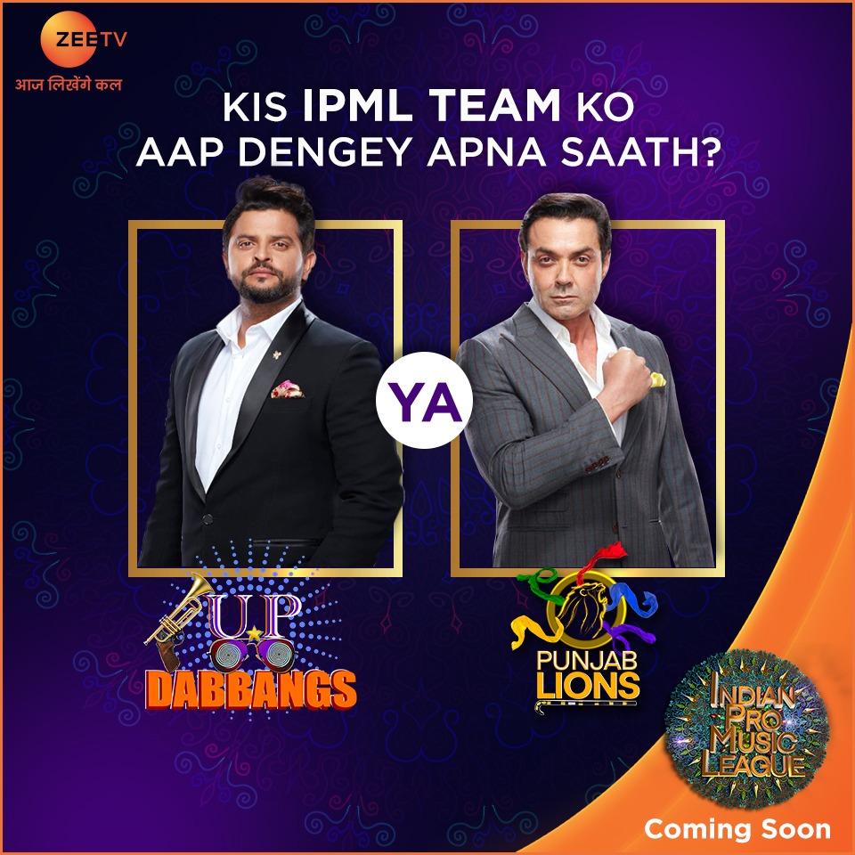 Team #UPDabbangs ya Team #PunjabLions, kaun banega duniya ki pehli music league ka mahanayak? Comments mein dijiye apna jawaab, aur zaroor dekhiye #IndianProMusicLeague, bahut jald, #ZeeTV par.   #IPMLonZeeTV #MusicUnchaRaheHamara  #WhoDoYouSupport @ipmlofficial @ImRaina @thedeol