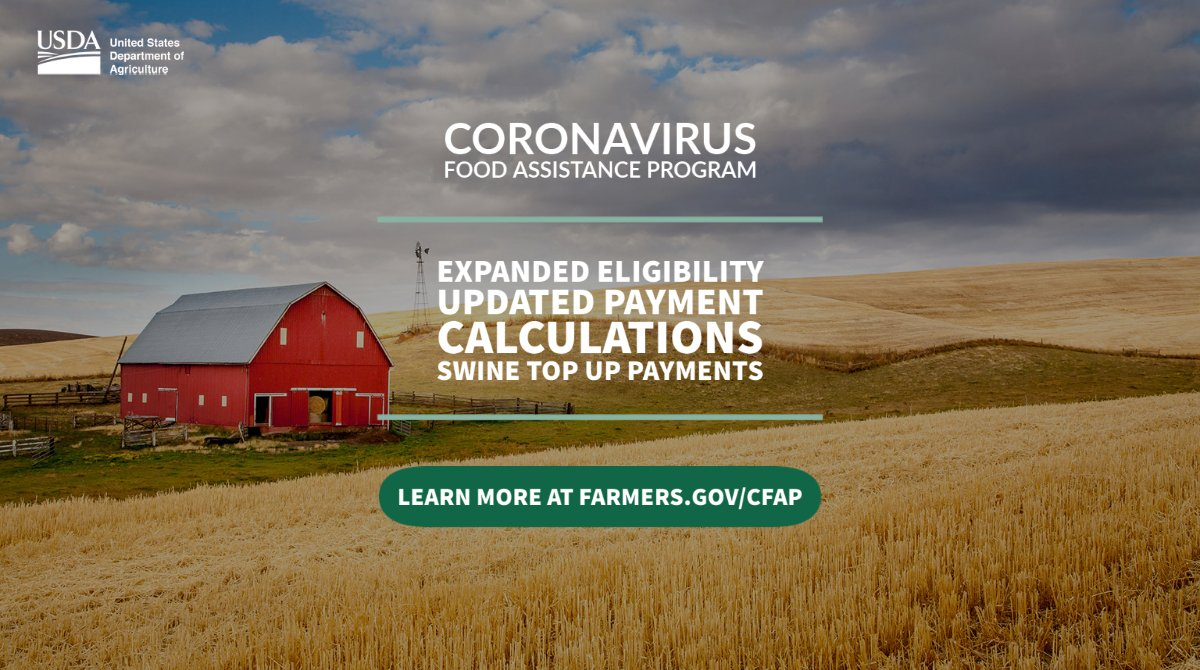 .@USDA will provide additional assistance through the Coronavirus Food Assistance Program. #CFAP has expanded eligibility along with other program changes.