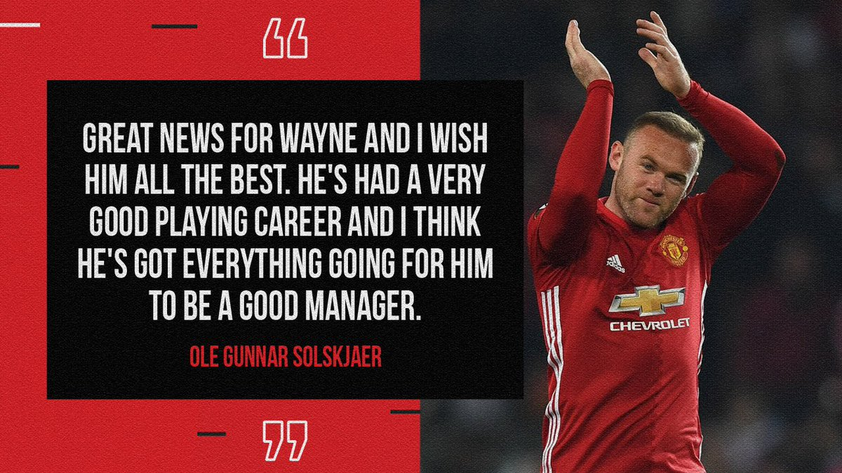 𝙁𝙧𝙤𝙢 𝙢𝙖𝙣𝙖𝙜𝙚𝙧 𝙩𝙤 𝙢𝙖𝙣𝙖𝙜𝙚𝙧 💬  Everyone at #MUFC joins Ole in wishing @WayneRooney all the best in his managerial career ❤️