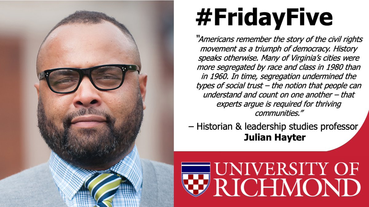 Next up on our #FridayFive is #URExpert Julian Hayter. Hayter is a leadership studies professor in the @JepsonSchool w/ expertise on the Civil Rights Movement & modern African American History. Hayter can provide a thorough historical perspective for #MLKDay2021 stories. #MLK https://t.co/veukIKEPSa