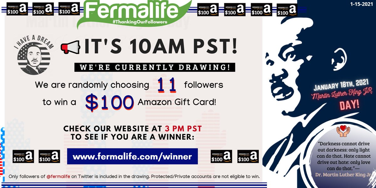 📢IT'S 10AM PST! We are currently drawing 11 random followers to win a $100 #AmazonGiftCard for January's #ThankingOurFollowers drawing! CHECK BACK AT 3PM PST ON OUR WEBSITE TODAY:  Set an alarm or TURN ON your notification bell! 🔔✔️