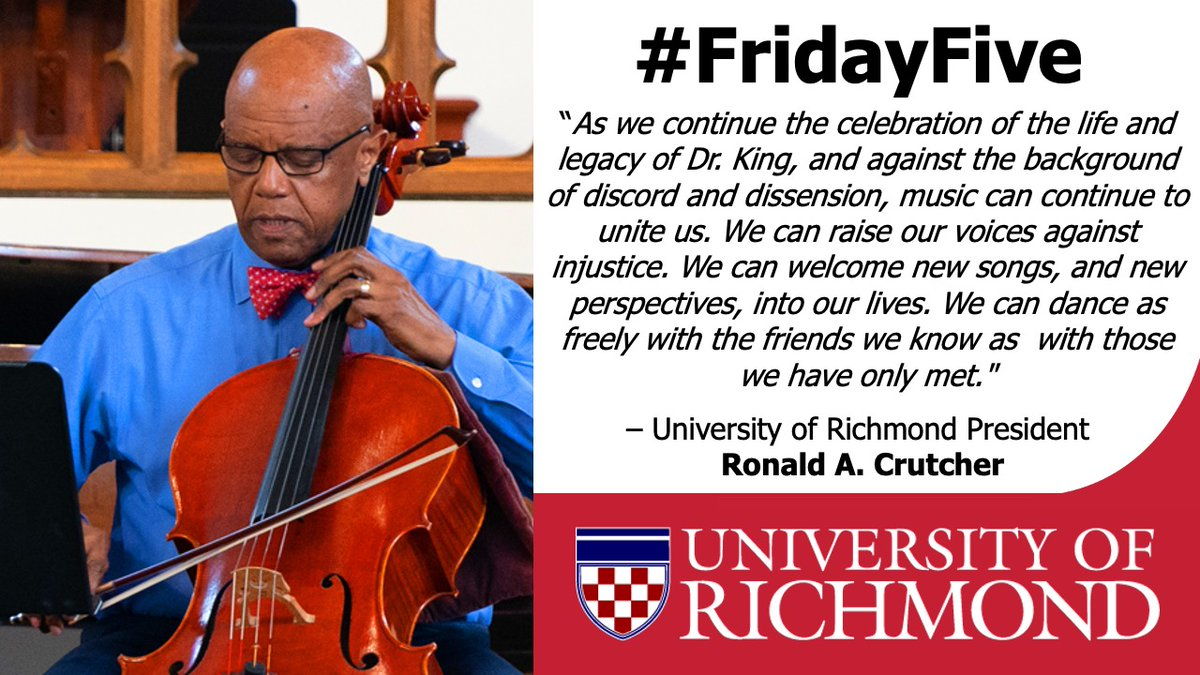5/5 on today's #MLKDay #FridayFive expert feature is President Ronald A. Crutcher. @racrutcher authored a piece for @RTDNEWS in 2018 where he discusses the role music has played in creating Dr. King's community of peace, justice, & equality. https://t.co/dw5hLmUD3c https://t.co/5xVjNT55QC