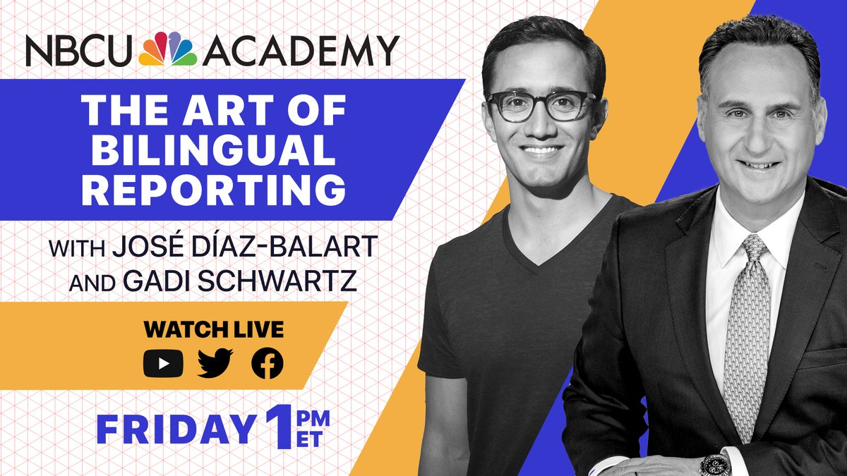 Live at 1 p.m. ET:  The Art of Bilingual Reporting  @GadiNBC chats with @TelemundoNews and @NBCNightlyNews anchor @jdbalart about bilingual reporting, as part of the launch of @NBCUAcademy.