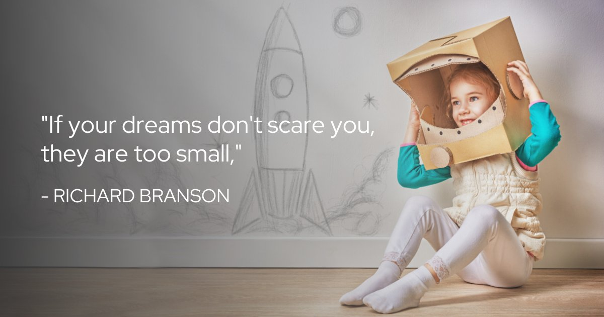 """""""If your dreams don't scare you, they are too small,"""" - Richard Branson. Big dreams yield big success. #dreambig #wednesdaywisdom"""
