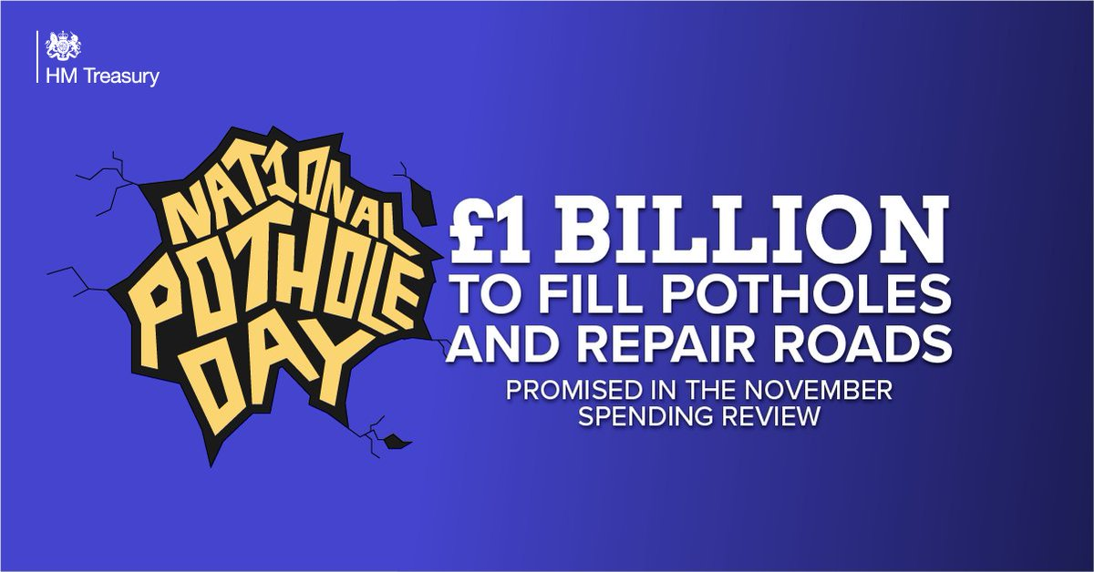At the Spending Review in November we committed over £1bn to fill thousands of potholes and repair hundreds of miles of local roads. #NationalPotholeDay