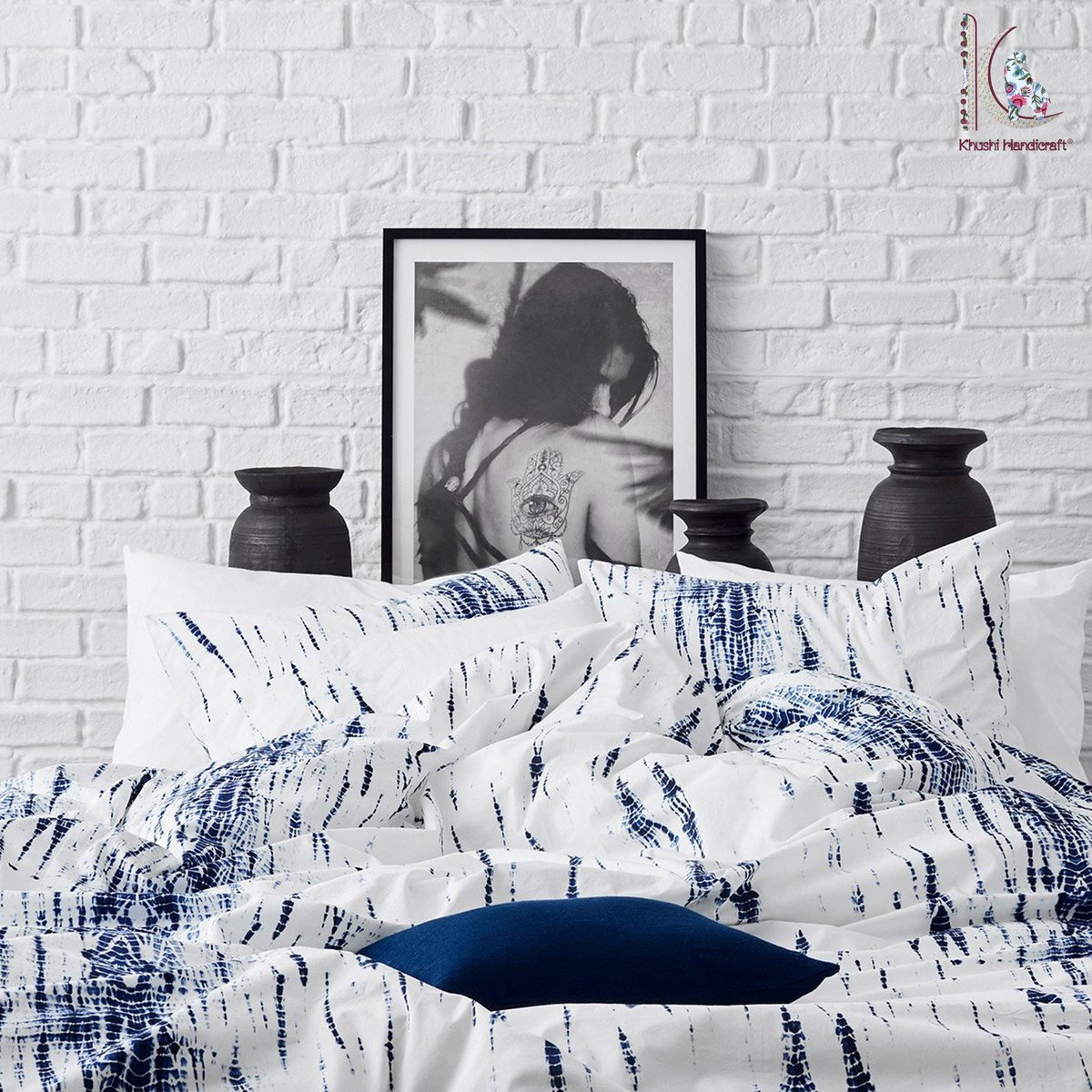 Excited to share the latest addition to my #etsy shop: Shibori Tie dye Boho Bedding, Bed separates duvet cover cushion cover soft mul-mul Tie Dye Indian Indigo Bedding Hippie Wedding Dorm CKQD#01  #white #housewarming #christmas #blue #tiedye #ad