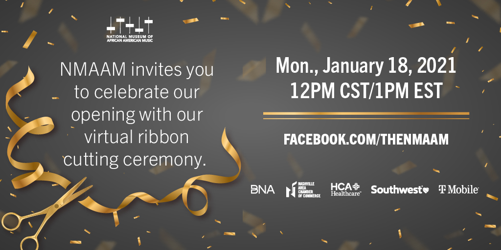 You're invited to our virtual ribbon cutting ceremony on MLK Day! Watch live starting at 12PM CST/1PM EST on NMAAM's Facebook page and YouTube channel.