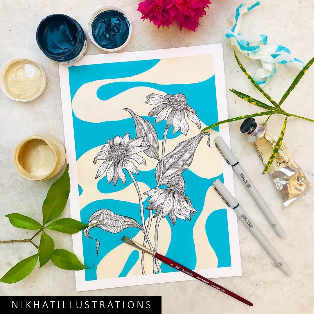 A cone flower today !!!  Using line art technique and acrylics :)  #art #artist #acrylic #acrylics #acrylicpainting #painting #drawing #floral #botanical #flowers #flowerpainting #lineart #fineart #artgallery #ifb #blue
