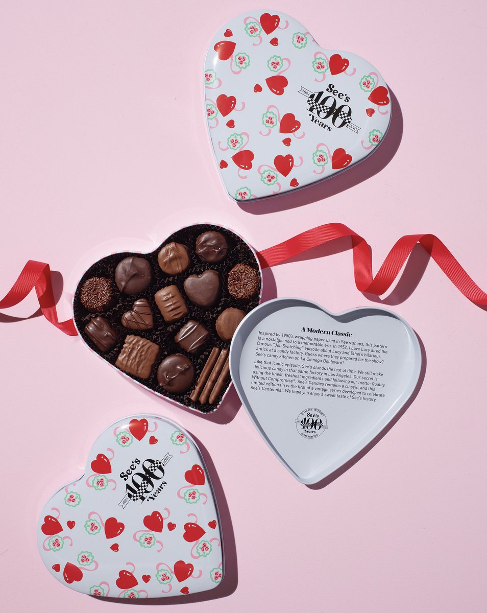 Bringing you back to Valentine's Day in the '50s 🎙️ Give them this limited-edition tin that's part of our collectible vintage Centennial series 😍 It's filled with classic See's favorites and new heart-shaped sweets celebrating #100YearsOfSees.  Shop: