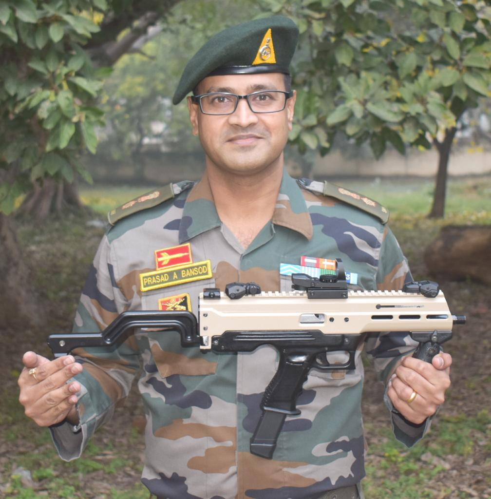 """India's first indigenous 9 mm Machine Pistol """"ASMI"""" has been developed by Lt Col Prasad Bansod from Infantry School, Mhow with assistance from  ARDE, Pune in a record time of four months. The weapon fires the in-service 9 mm ammunition."""