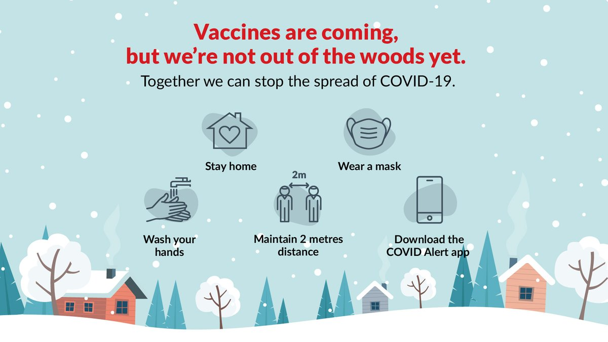 With the arrival of vaccines an end is in sight, but for now we must all keep doing our part to minimize #COVID19 - stay home, follow public health measures and download the #COVIDAlert app. Stay strong, we will get through this together!