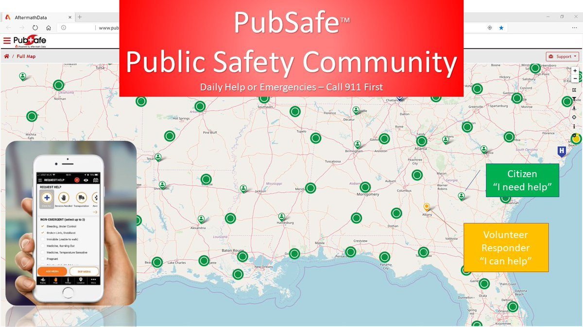 """""""I need help!"""" """"I will be right there."""" PubSafe mobile app citizen help & info network. Use for simple needs, or disaster recovery.  Join the growing community FREE. Post your last know location before #HurricaneDelta. Android & iOS -  #flood #sos #rescue"""