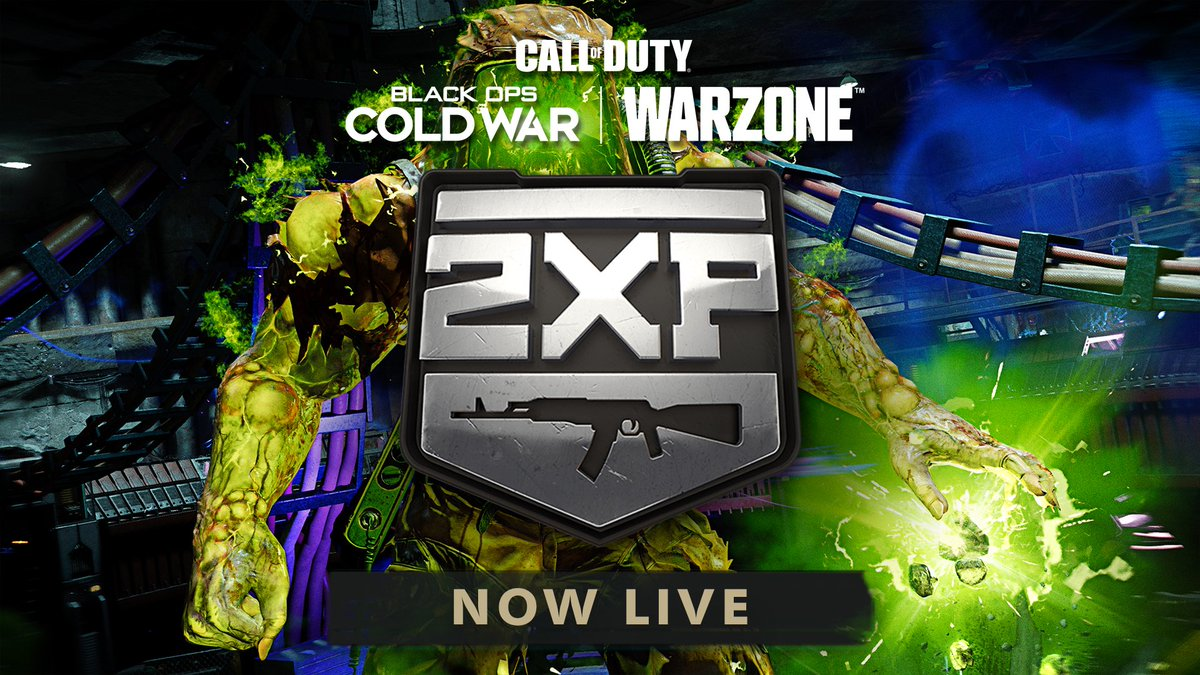 Treyarch - 2X Weapon XP is now live in #BlackOpsColdWar Zombies, Multiplayer, and #Warzone through Jan. 21.  2WXP is also available for #Zombies Free Access players all weekend long. Happy 115 Day!