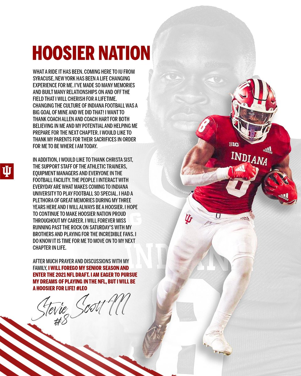 The league has no idea what's coming, can't wait to watch you play on Sunday's @Steviescott8_ #IUFB