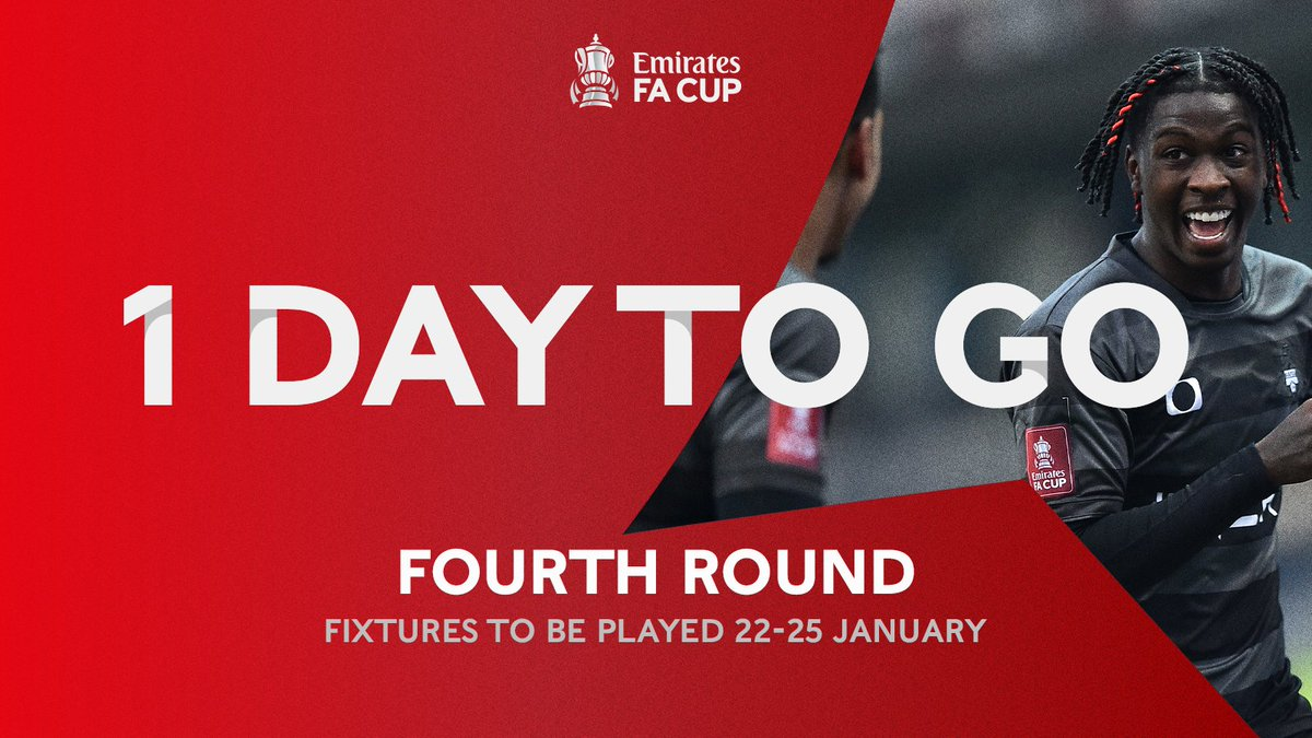 ONE. DAY. TO. GO.  ALL 1️⃣6️⃣ #EmiratesFACup fourth round fixtures are available to watch LIVE on @BBCSport & @btsportfootball in the UK:  🙌