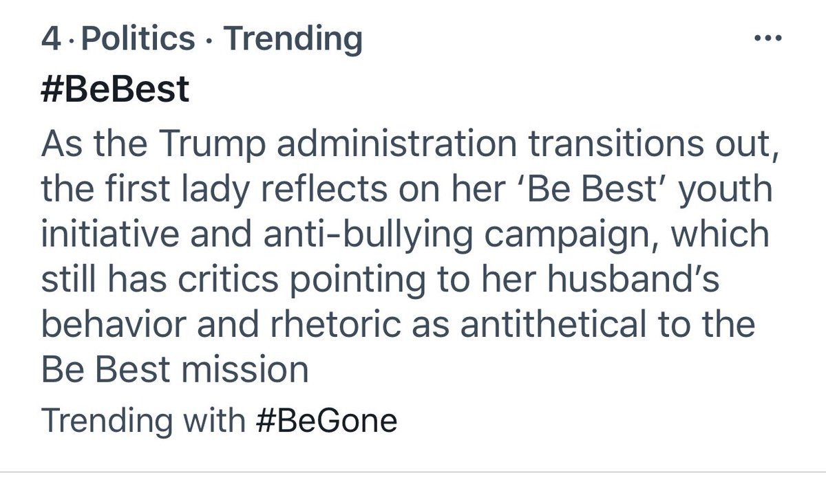 You can't even let a good thing be a good thing.   Never let a crisis go to waste... What a disgrace!   #BeBest thank you FLOTUS, if any family knows bullying, it's yours. We appreciate you!