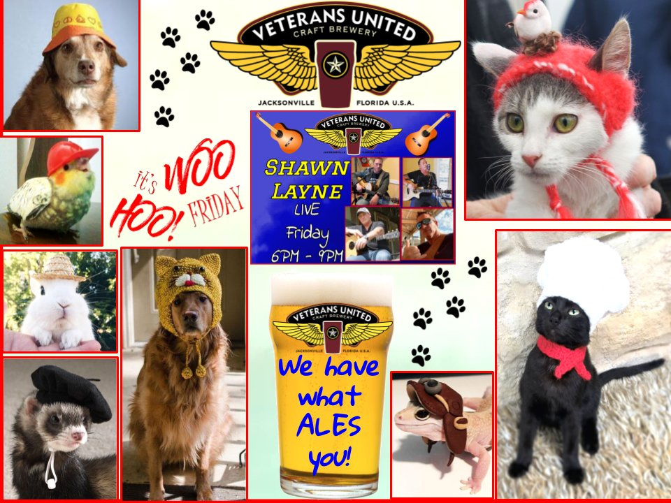 It's FREAKIN' FRIDAY - OPEN @ 3PM!  Woo Hoo!  Shawn Layne LIVE @ 6PM! 🎤🎸❤️  21 VU 🍺 on TAP!  #beeroclock #craftbeer #beer #Friday #Jacksonville #hats  @StJohnsCounty #FridayFunday @stufftodoinJAX  #FridayVibes #musicians #livemusic #dogsoftwitter #CatsOnTwitter #nationalhatday