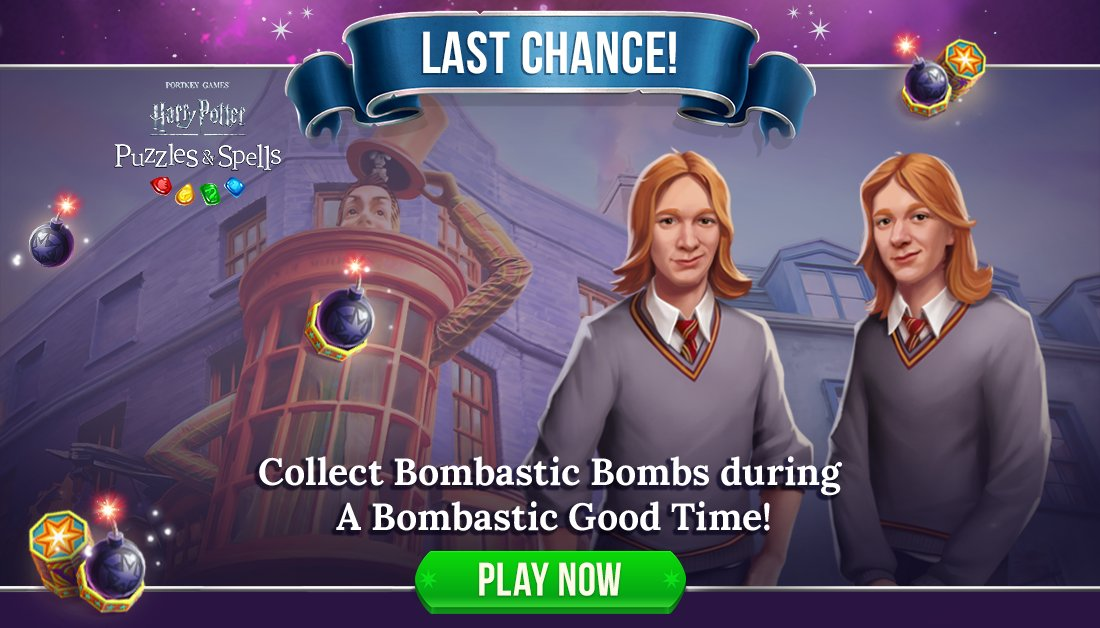 The mischievous Weasley twins know how to have a good time! Still have Bombastic Bombs to collect? Receive a multiplier for completing puzzles on your 1st or 2nd attempt. Event ends soon!  Play #ABombasticGoodTime NOW ➡️   #HarryPotterPuzzlesAndSpells