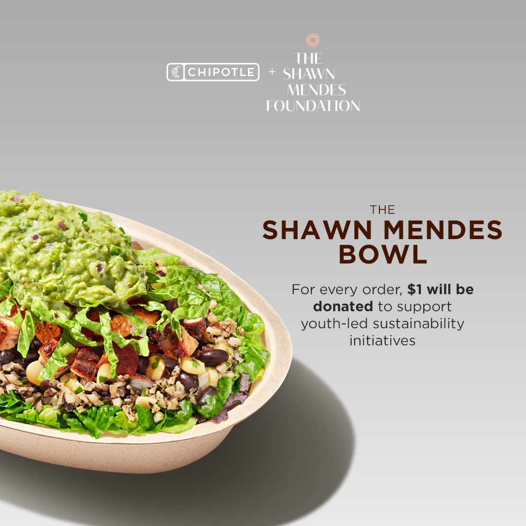For every @ShawnMendes bowl ordered at @ChipotleTweets, one dollar goes directly to youth-led sustainability initiatives across the country. Support the @shawnfoundation today! 🥑🍚 https://t.co/t005snu5zs