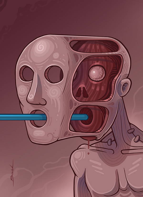 Blue velvet. Gallery -  . #blue #velvet #zombie #creature #creepy #tube #straw #faceoff #mask #skull #art #illustration #tomek #tomasz #biniek #szczecin #poland #digital #painting #darkart  #graphics #sztuka #wspolczesna
