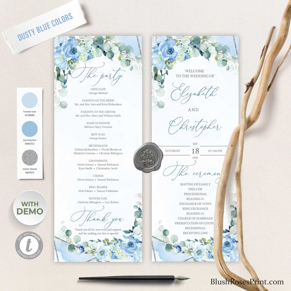Excited to share the latest addition to my etsy shop : BLEIN - Blue Wedding Program Template, Floral Ceremony Program, Boho Wedding Program, TEMPLETT Instant Download, Printable Program Silver  #blue #wedding #silver #bohoh