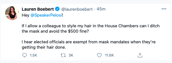 Lauren Boebert just posted this inflammatory tweet to Nancy Pelosi. Who does Boebert think she is??? She is so guilty of insurrection, disrespects our government, disrespects Speaker Nancy Pelosi, and no regard for The Constitution. Boebert lied and said she wasn't involved.