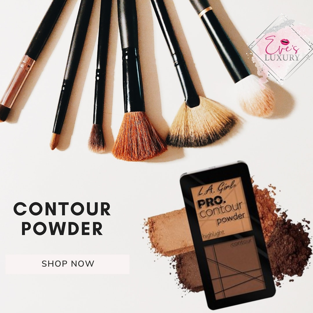 The smooth powder formula blends beautifully for a flawless- looking contour.   #evesluxury #makeupbeauty #makeuppassion #makeupproducts #makeuptransformation #ladiesfashion #makeuptutorial #highlighters #mascara #eyemakeup #makeuplooks #onlineshopping