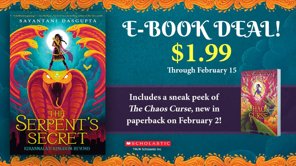 Ebook deal! For a limited time only, you can get #TheSerpentsSecret by @Sayantani16 for just $1.99. Don't miss out – this special offer includes a special look at book 3, #TheChaosCurse, which is available in paperback on 2/2!