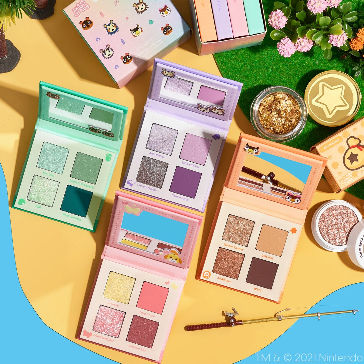 Featuring fun shades inspired by the island paradise life, the @ColourPopCo x Animal Crossing: New Horizons makeup collection adds some new hues to your look on 1/28! #ColourPopxAnimalCrossing 🏝️: