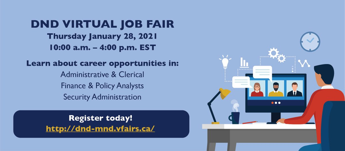 Do you have education and work experience in Administration, Finance or Policy? Attend our #VirtualJobfair on Thursday, January 28 to learn more about these opportunities at DND! Register soon to reserve your spot 👉 dnd-mnd.vfairs.ca/en/ _ #DNDJobFair #DefenceJobs