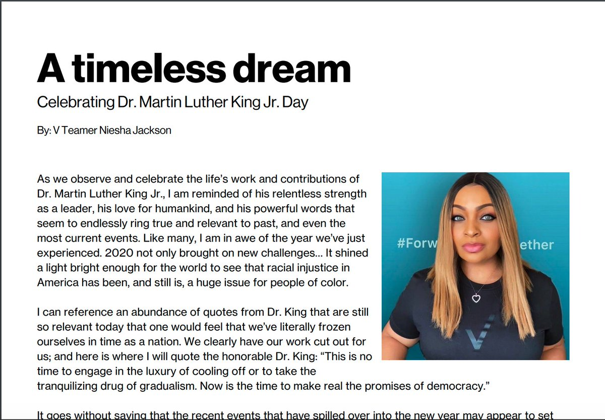 """Peel back the layers. Pay attention to what's becoming of it. This may be the very catalyst to move us even closer in the direction of Dr. King's dream."" Read more of V Teamer Niesha's thoughts on #MLKDay here 👉👉👉"